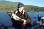 Jim with a bull trout caught during the derby...