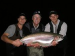 Rick poses with Adam and Sean...and a huge 25 pound plus Diefenbaker rainbow!