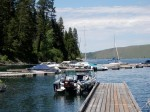 The State Park mooring dock at the south end of Wallowa Lake.