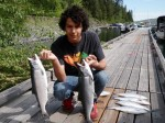Alec with two of the biggest kokanee that morning.....4 and 4.5 LB.!