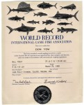 Don Yow's IGFA cert. for his 12 LB. line class World Record bull trout. It just so happens to be the Oregon State Record as well.